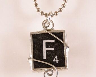Black Letter F Scrabble Pendant Necklace