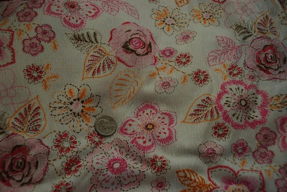 Pink and Orange Floral Poly Blend Crinkle Knit Fabric -1  Yard