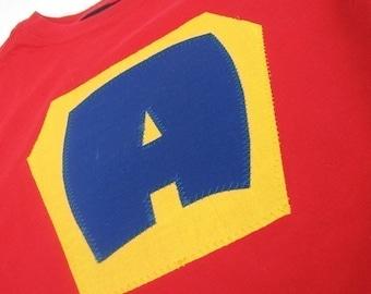 Kid Children Custom Tee Shirt w/Initial Superhero Princess As Seen on GMA