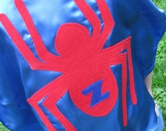 Superhero cape Custom Spider superhero Kid Cape w/ intial  party favors