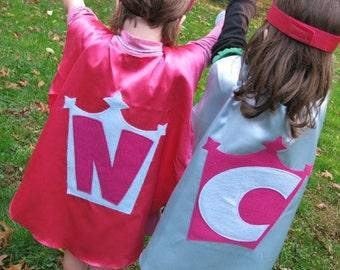 2 Superhero Cape Costume Kid Capes Personalized You Pick Colors Logo letter superhero favor