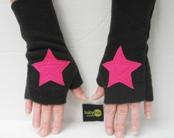 You Must Be My Lucky Star ...Black Adult Fingerless Gloves