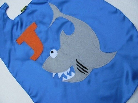Childrens  Shark Kid Cape Personalized shark week