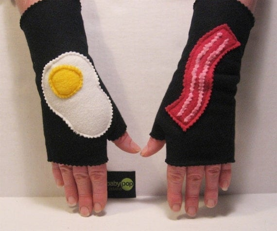Bring Home The Bacon  Black Adult Fingerless Gloves