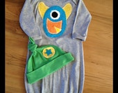 Monster Gown and Hat set  0-3month assorted colors available