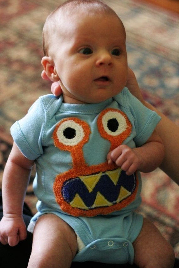 Baby Orange Bernard on Blue available in sizes 3-6m, 6-12m, 12-18m
