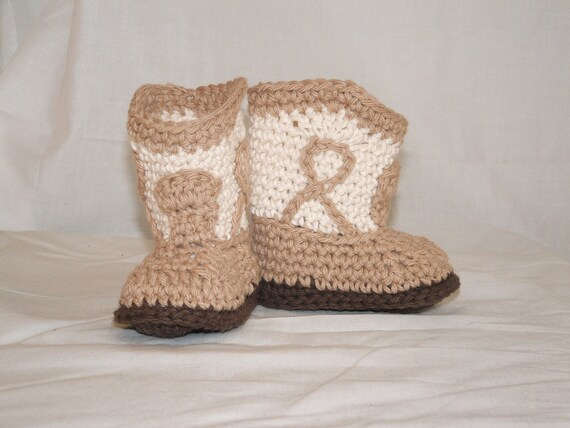 Tan Cowboy Booties, size Small (6 month)