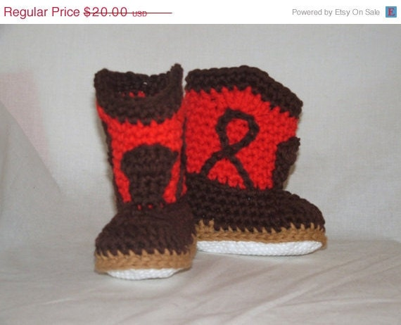 BARGAIN Red and Brown Toddler Cowboy Booties with non-skid soles, size T1