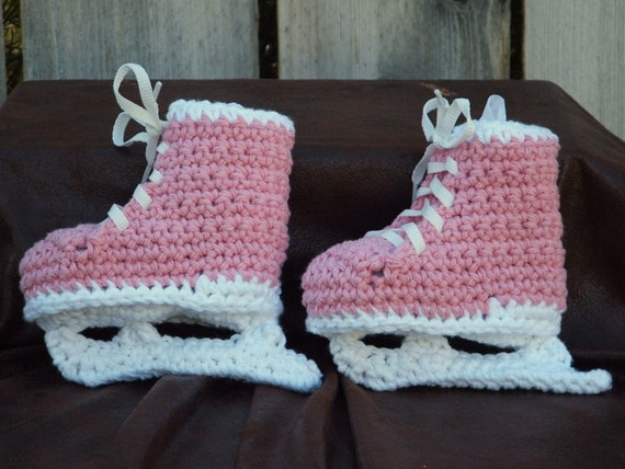 Pink Hockey Skate Booties, size Small (6 month)