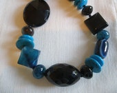 Black Onyx and Blue Agate Chunky Statement Necklace