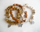 Natural Stone and Wood Stretch Bracelet