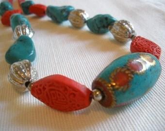 Tibetan Turquoise Red Ethnic Necklace