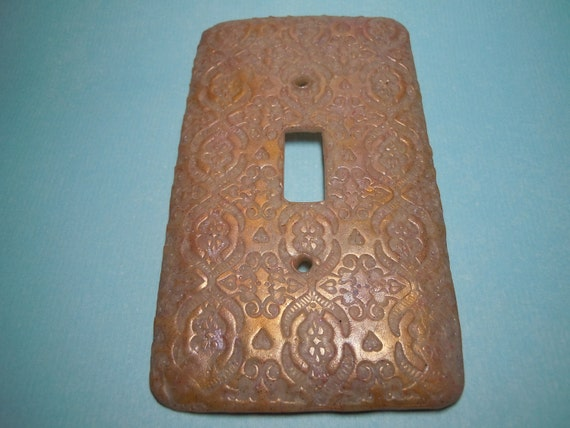 Golden Light Switch Cover Handmade Polymer Clay Translucent Inclusions Lace Design
