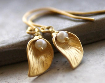 Calla Lily Earrings with Freshwater Pearls - Simple, Dainty, Delicate, Organic, Everyday Jewelry