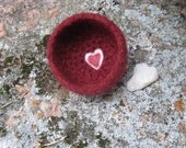 My Felted Valentine Bowl in  Burgundy with Double Heart