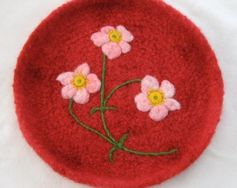 Anemone Blossoms on Red Tray