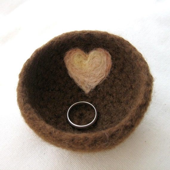 My Felted Valentine Ring Bowl Brown With Cream and Pale Pink Heart