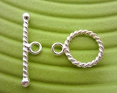 Sterling Silver - Twisted Round Toggle Clasp - 13mm .925 silver