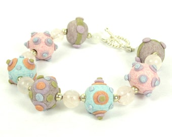 KALEIDOSCOPE Collection - Pastel Multicolor Lampwork Style Polymer Clay Bracelet