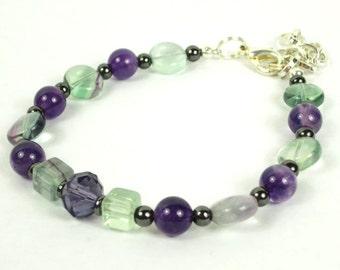 Holistic Gemstone Anklet with Magnetic Hematite, Purple/Aqua Rainbow Quartz, and Purple Swarovski Crystal