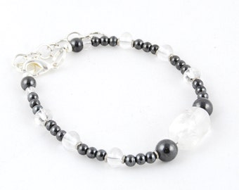 Holistic Gemstone Anklet for Balance & Healing with Magnetic Hematite, Snowflake Quartz Chunk, and Silver Rings