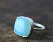 soft blue chalcedony cushion sterling silver ring