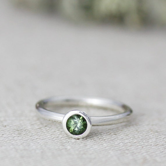 hera sterling silver solitaire moss green tourmaline ring - stackable - other colors available