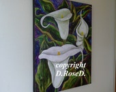 16x20 Inch Original Acrylic Painting of Calla Lilies
