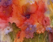Original Watercolor Painting Flowers Negative Style Painting