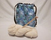 Knitting Crochet Drawstring Project Bag, Blue Brown Sprockets