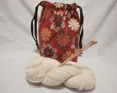 Knitting Crochet Drawstring Project Bag, Red Brown Flowers