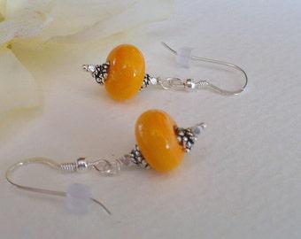 Jewelry, Dangle Earrings,  Lampwork Beads in Orangeand Sterling Silver, Statteam