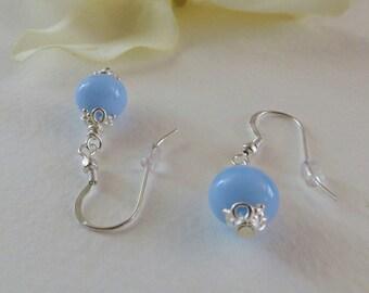 Dangle Earrings Opaque Blue Lampwork Bead & Sterling Silver, Smokeylady54