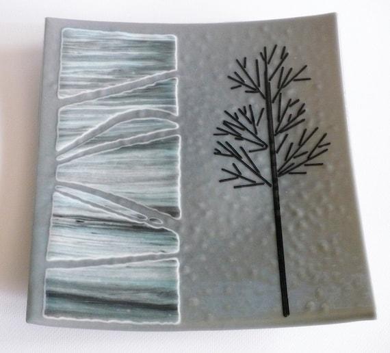 Black Tree on Grey Fused Glass Dish