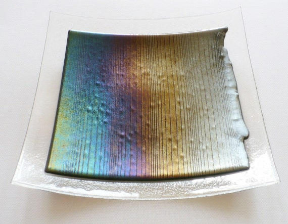 Dining and Entertaining, Fused glass dish with amazing  iridescent colors On Sale