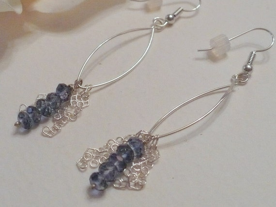 Earrings,  Blue Topaz and Sterling Silver Ear Wires and Chain, Statteam