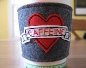 Caffeine Love Tattoo Hand-embroidered Reusable Coffee Sleeve