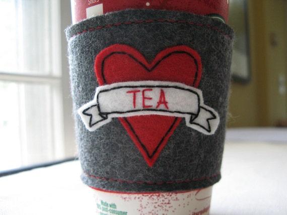 Tea Love Tattoo Reusable Coffee Sleeve