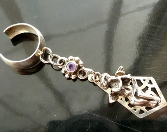 Angelic Music Ear Cuff Angel with Faceted Amethyst in sterling silver