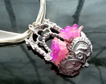 Wall Flower Bouquet Necklace Victorian basket with purple n pink flowers closeout sale