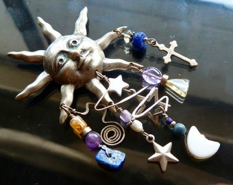 Signs in the Heavens Silver Moon stars and cross pin with blue lapis amethyst and citrine