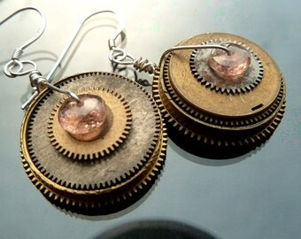 Opposites Attract Pink Tourmaline steampunk earrings gears watch parts gold and silver discs asymmetrical mismatch