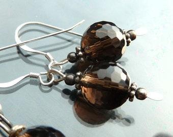 Smoky Quartz Earrings crystal chandelier brown orb in sterling silver