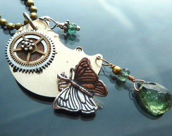 Steampunk Fly to the Moon Butterfly Necklace watch parts gears gold sterling silver with Indicolite tourmaline