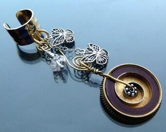 Spring Flight Steampunk Ear Cuff butterflies gold n silver pink morganite antique watch parts butterfly