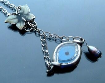 Steampunk Eye Spy a Butterfly Necklace watch parts silver peacock pearl teardrop enamel blue