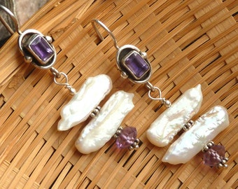 Amethyst and Baroque Pearls Art Deco style earrings in sterling silver purple faceted gemstones with rainbows