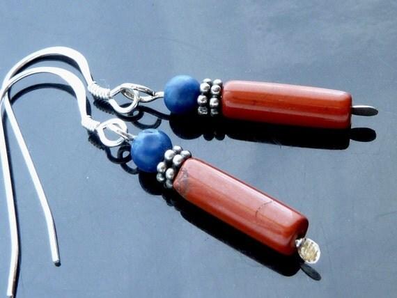 Blue Lapis n Rust Jasper dangle earrings in sterling silver