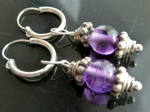 Amethyst Hoops in sterling silver delicate n tiny purple for little girls and ladies