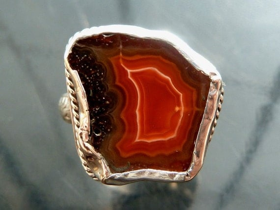 Diva Laguna Agate raw rock crystal in sterling silver natural Letter D initial size 7 8